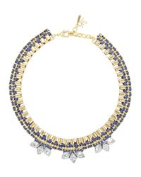 John & Pearl | Blue Meteor Gold Tone Swarovski Necklace | Lyst