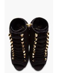 Giuseppe Zanotti - Matte Black Leather Goldstudded Alien Boots - Lyst