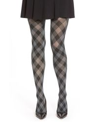 Hue | Gray Plaid Opaque Tights | Lyst