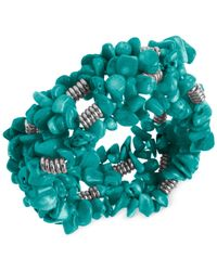 Kenneth Cole | Blue Silver-tone Semi-precious Turquoise Chip Bead Stretch Bracelet | Lyst