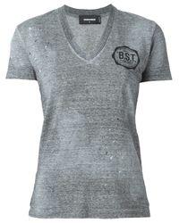DSquared² - Gray V-neck T-shirt - Lyst