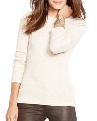Lauren by Ralph Lauren - Natural Ribbed Stretch-cotton Tee - Lyst