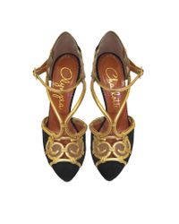 Charlotte Olympia - Black Suede And Antique Gold Metallic Leather Rattan Platform Sandal - Lyst