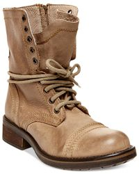 Steve Madden | Natural Tropa 2.0 Leather Combat Boots | Lyst