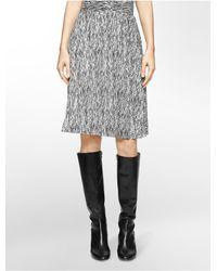 Calvin Klein - Black Abstract Print Pleated Skirt - Lyst
