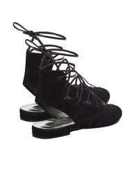 Saint Laurent | Black Lace-Up Suede Sandals | Lyst