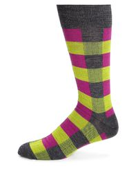 Saks Fifth Avenue - Pink Merino Wool-blend Checkered Socks for Men - Lyst