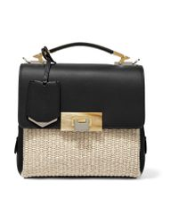 Balenciaga - Black Le Dix Mini Leather And Woven Raffia Shoulder Bag - Lyst
