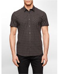 Calvin Klein | Black White Label Slim Fit Grid Cotton Short Sleeve Shirt for Men | Lyst