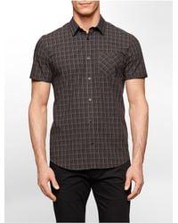 Calvin Klein - Black White Label Slim Fit Grid Cotton Short Sleeve Shirt for Men - Lyst