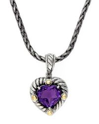 Effy | Purple Balissima 18K Yellow Gold And Sterling Silver Amethyst Heart Pendant | Lyst