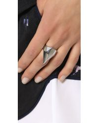Rebecca Minkoff - Metallic Faceted Metal Ring Rhodium - Lyst