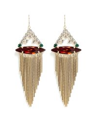 Iosselliani | Multicolor Marquise Cut Crystal Fringe Drop Earrings | Lyst