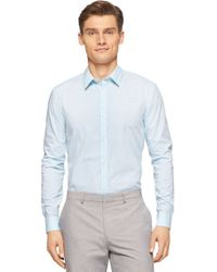 Calvin Klein | Blue Slim Fit Checkered Sportshirt for Men | Lyst