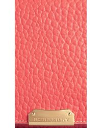 Burberry   Pink Medium Signature Grain Leather Clutch Bag   Lyst