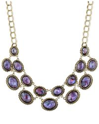 Jones New York - Gold-Tone Purple Stone Linked Frontal Necklace - Lyst
