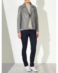 John Lewis - Gray Betsy Leather Biker Jacket - Lyst