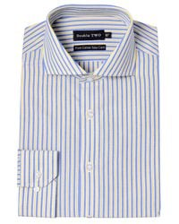 Double Two | Yellow Stripe Classic Fit Classic Collar Formal Shirt for Men | Lyst