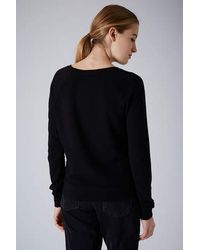 TOPSHOP - Black Neat Rib Sweat - Lyst