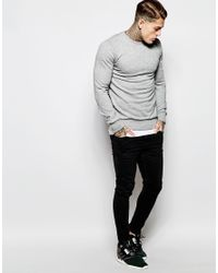Criminal Damage - Gray Distressed Sweatshirt With Rips for Men - Lyst