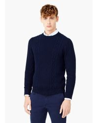 Mango | Blue Textured Cotton Sweater for Men | Lyst