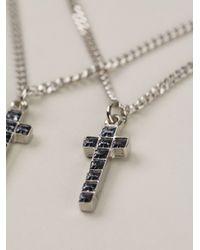 DSquared² - Metallic Double Crucifix Neckalce for Men - Lyst