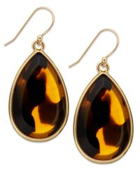 kate spade new york - Metallic Gold-Tone Tortoise Teardrop Earrings - Lyst