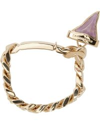 Givenchy - Metallic Pale Gold Jewelled Shark Tooth Bracelet - Lyst