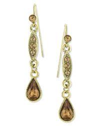 2028 - Metallic Gold-tone Topaz Linear Teardrop Earrings - Lyst