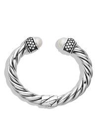 David Yurman - Metallic Cable Classics Bracelet With Pearls And Diamonds - Lyst