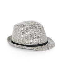 Saks Fifth Avenue | Black Patterned Paper Fedora | Lyst