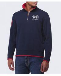 La Martina - Blue Contrast Collar Zip Sweater for Men - Lyst