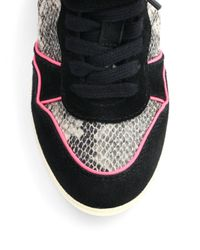 Ash - Black Bisou Studded Snakeskin Suede Wedge Sneakers - Lyst