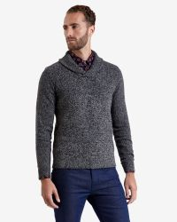 Ted Baker - Gray Basket Stitch Shawl Neck Sweater for Men - Lyst