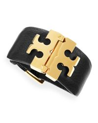 Tory Burch - Wide T Hinge Bracelet Black - Lyst