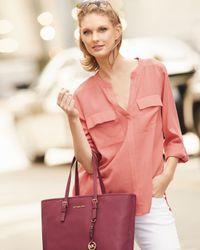 Go> By Go Silk - Red Two-pocket Silk Tunic - Lyst