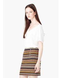 Mango - Natural Linen T-shirt - Lyst