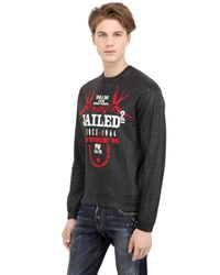 DSquared² - Black Printed Coated Cotton Sweatshirt for Men - Lyst