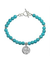 Aeravida - Blue 'believe' Inspirational Message .925 Silver Pendant And Turquoise Bracelet - Lyst