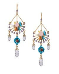Betsey Johnson | Metallic Weave And Sew Beaded Chandelier Earrings | Lyst