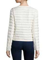 Moncler - Natural Collarless Quilted Jacket - Lyst