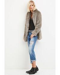 Forever 21 - Gray Shawl Collar Faux Fur Coat - Lyst