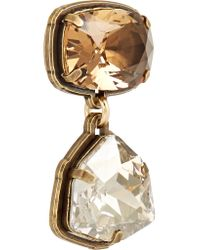 Lanvin - Metallic Gold-tone Swarovski Crystal Clip Earrings - Lyst