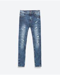 Zara | Blue Power Stretch Trousers | Lyst