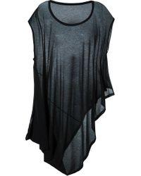 Y's Yohji Yamamoto | Black Draped Asymmetric T-shirt Dress | Lyst