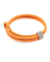 Bottega Veneta - Orange Men's Woven Leather Bracelet - Lyst