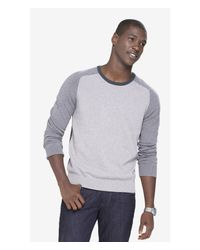 Express | Gray Color Block Crew Neck Baseball Sweater for Men | Lyst