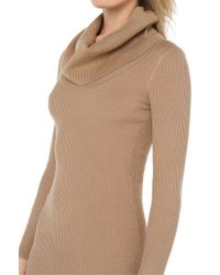 AKIRA - Natural Deep Down Camel Sweater Dress - Lyst