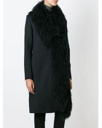 Akris - Black Trimmed Front Textured Back Long Coat - Lyst