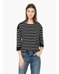 Mango | Black Striped Cotton-blend Sweater | Lyst